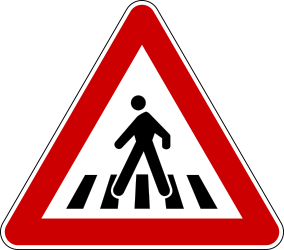 Traffic sign of Serbia: Warning for a crossing for pedestrians