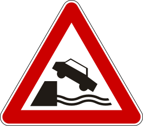 Traffic sign of Serbia: Warning for a quayside or riverbank