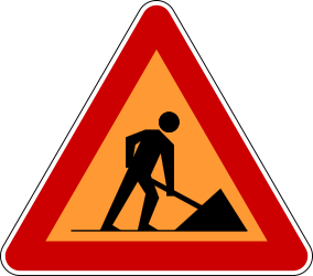 Traffic sign of Serbia: Warning for roadworks