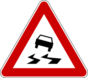 Traffic sign of Serbia: Warning for a slippery road surface