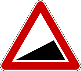 Traffic sign of Serbia: Warning for a steep ascent