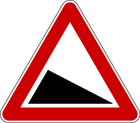 Traffic sign of Serbia: Warning for a steep descent