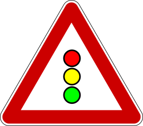 Traffic sign of Serbia: Warning for a traffic light