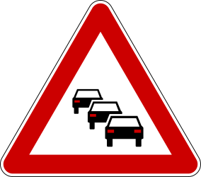Traffic sign of Serbia: Warning for traffic jams