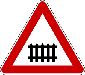 Traffic sign of Serbia: Warning for a railroad crossing with barriers