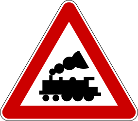 Traffic sign of Serbia: Warning for a railroad crossing without barriers