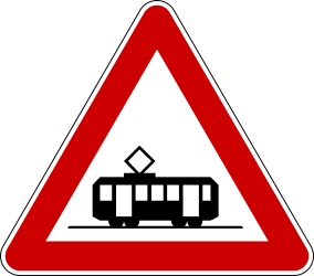 Traffic sign of Serbia: Warning for trams