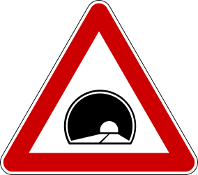Traffic sign of Serbia: Warning for a tunnel