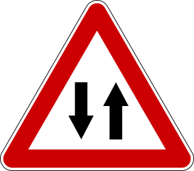 Traffic sign of Serbia: Warning for a road with two-way traffic