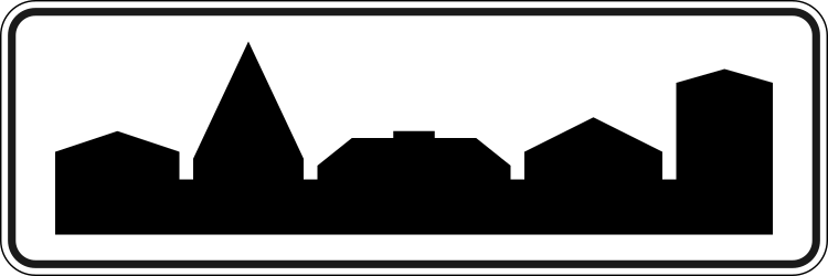 Traffic sign of Russia: Begin of a built-up area