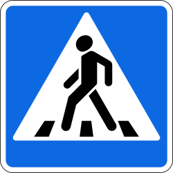 Traffic sign of Russia: Crossing for pedestrians