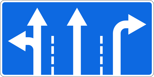Traffic sign of Russia: Overview of the lanes and their direction
