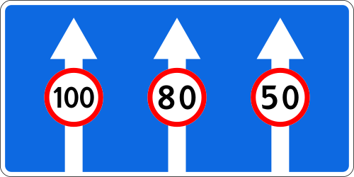 Traffic sign of Russia: Maximum speed of a lane