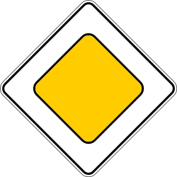 Traffic sign of Russia: Begin of a priority road