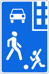Traffic sign of Russia: Begin of a residential area
