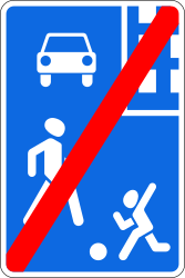 Traffic sign of Russia: End of the residential area