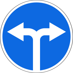 Traffic sign of Russia: Turning left or right mandatory