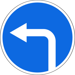 Traffic sign of Russia: Turning left mandatory