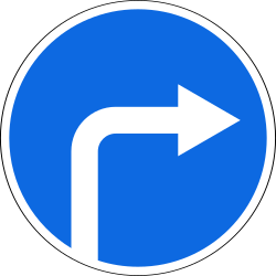 Traffic sign of Russia: Turning right mandatory