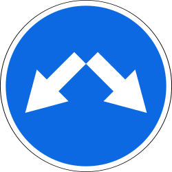 Traffic sign of Russia: Passing left or right mandatory