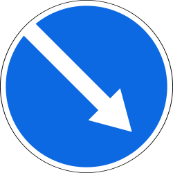 Traffic sign of Russia: Passing right mandatory