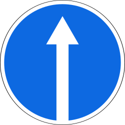 Traffic sign of Russia: Driving straight ahead mandatory