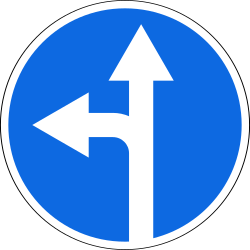 Traffic sign of Russia: Driving straight ahead or turning left mandatory