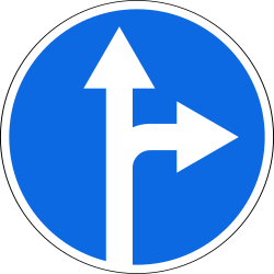Traffic sign of Russia: Driving straight ahead or turning right mandatory