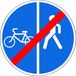 Traffic sign of Russia: End of the divided path for pedestrians and cyclists