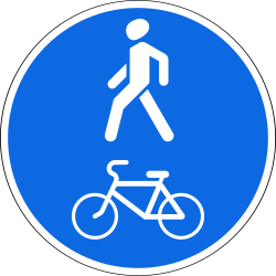 Traffic sign of Russia: Mandatory shared path for pedestrians and cyclists