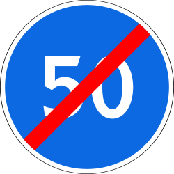 Traffic sign of Russia: End of the minimum speed