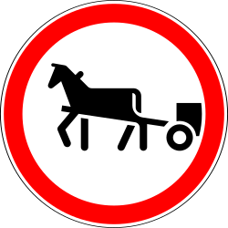 Traffic sign of Russia: Horsecarts prohibited