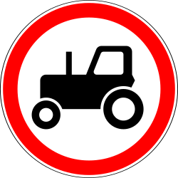 Traffic sign of Russia: Tractors prohibited