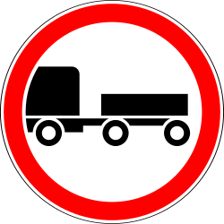 Traffic sign of Russia: Trucks with trailer prohibited