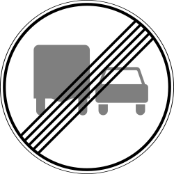 Traffic sign of Russia: End of the overtaking prohibition for trucks