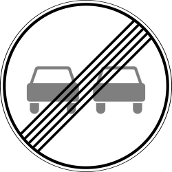 Traffic sign of Russia: End of the overtaking prohibition