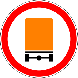 Traffic sign of Russia: Vehicles with dangerous goods prohibited