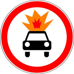 Traffic sign of Russia: Vehicles with explosive materials prohibited