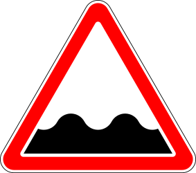 Traffic sign of Russia: Warning for a bad road surface