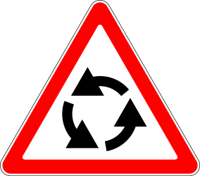 Traffic sign of Russia: Warning for a roundabout