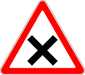 Traffic sign of Russia: Warning for an uncontrolled crossroad