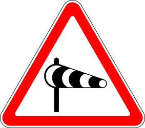 Traffic sign of Russia: Warning for heavy crosswind