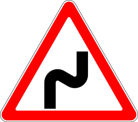 Traffic sign of Russia: Warning for a double curve, first right then left