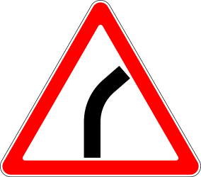 Traffic sign of Russia: Warning for a curve to the right