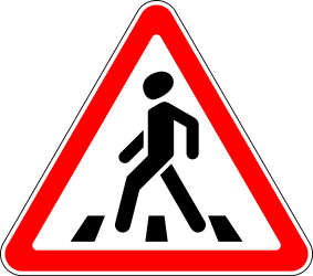 Traffic sign of Russia: Warning for a crossing for pedestrians