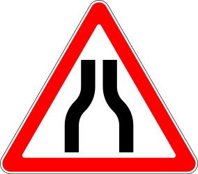 Traffic sign of Russia: Warning for a road narrowing