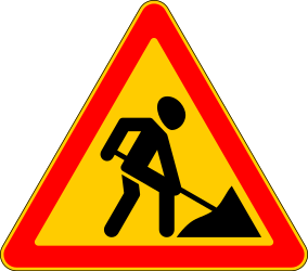 Traffic sign of Russia: Warning for roadworks