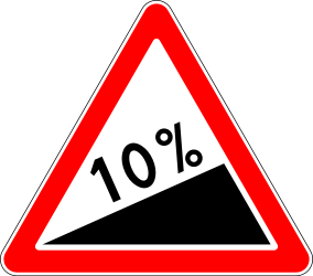 Traffic sign of Russia: Warning for a steep ascent