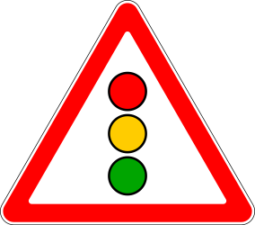 Traffic sign of Russia: Warning for a traffic light