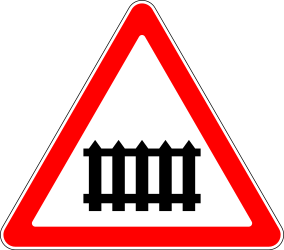 Traffic sign of Russia: Warning for a railroad crossing with barriers